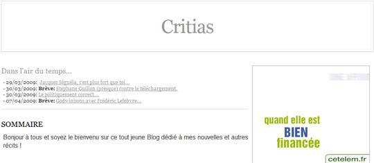 Le blog de Critias